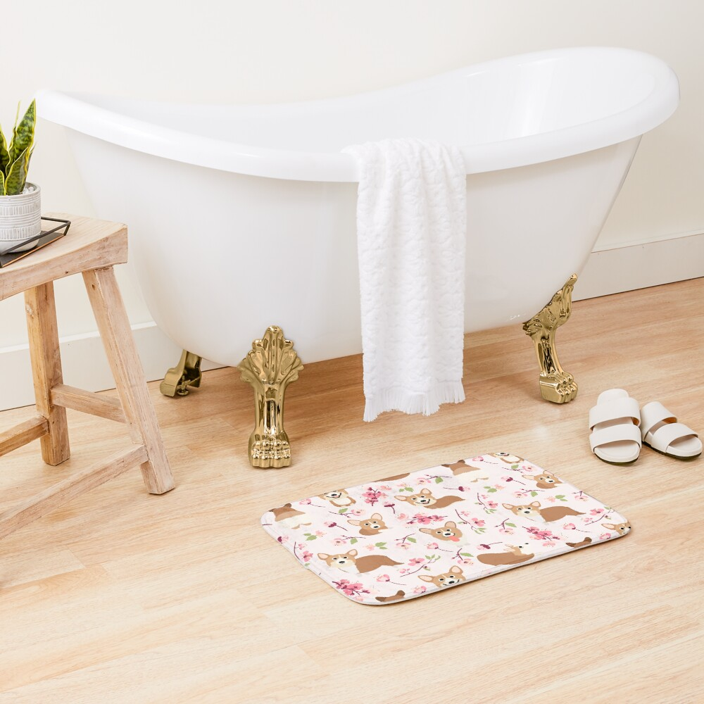 Corgis And Cherry Blossoms Sakura Pattern Bath Mat