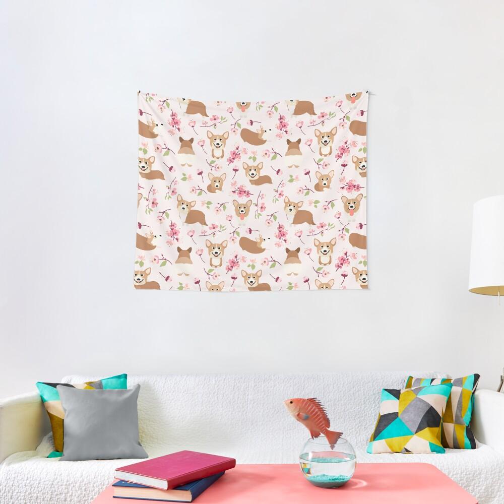 Corgis And Cherry Blossoms Sakura Pattern Tapestry