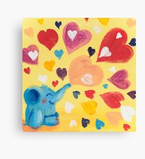 Love - Rondy the Elephant with colorful hearts Canvas Print