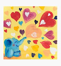 Love - Rondy the Elephant with colorful hearts Photographic Print