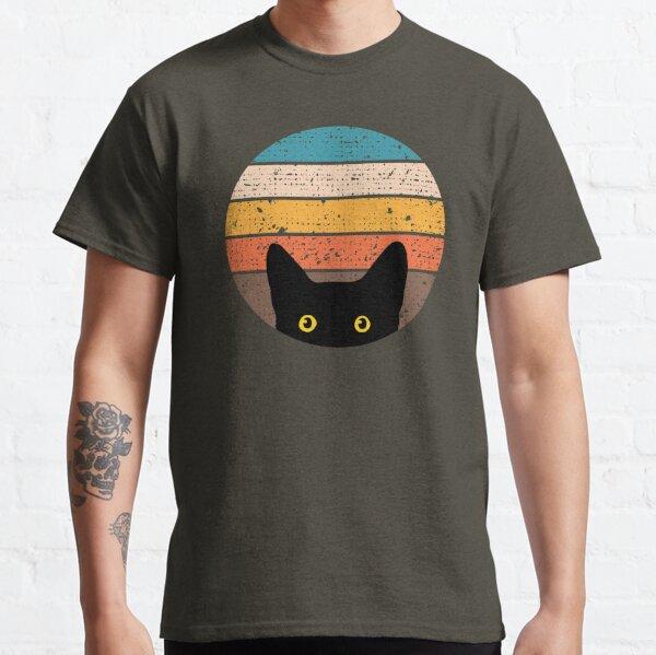Peeking Cat in Retro Circle Classic T-Shirt