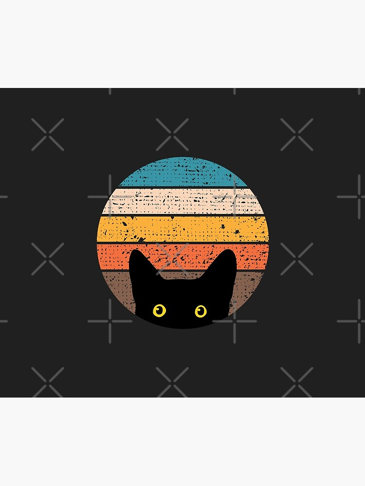 Peeking Cat in Retro Circle by beardsandcats