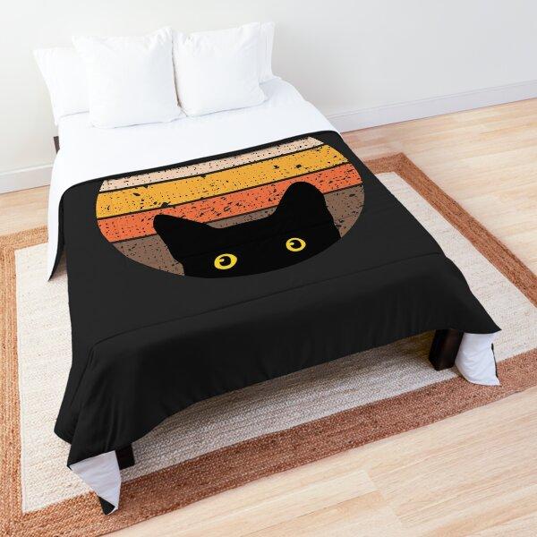 Peeking Cat in Retro Circle Comforter