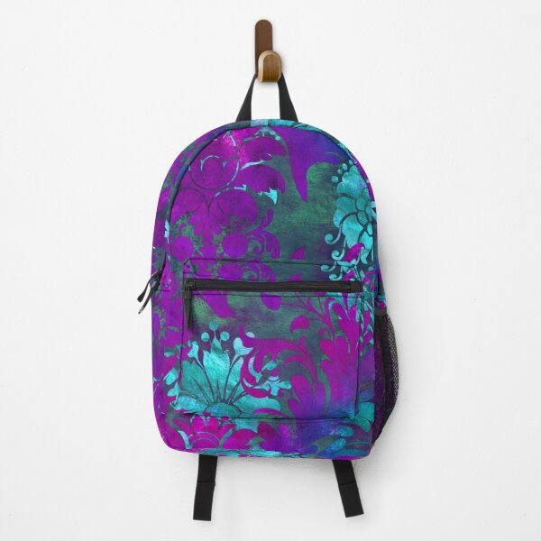 Jungle Floral Neck Gator Blue and Purple Jungle Flowers Backpack