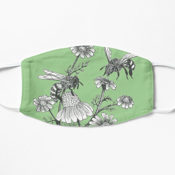 bees and chamomile on succulent green background Flat Mask
