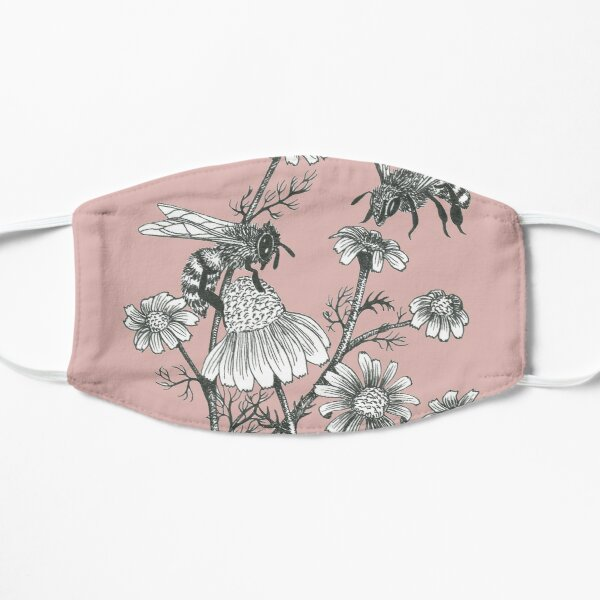bees and chamomile on dusty pink background Flat Mask