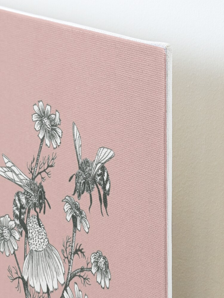 Alternate view of bees and chamomile on dusty pink background Mounted Print