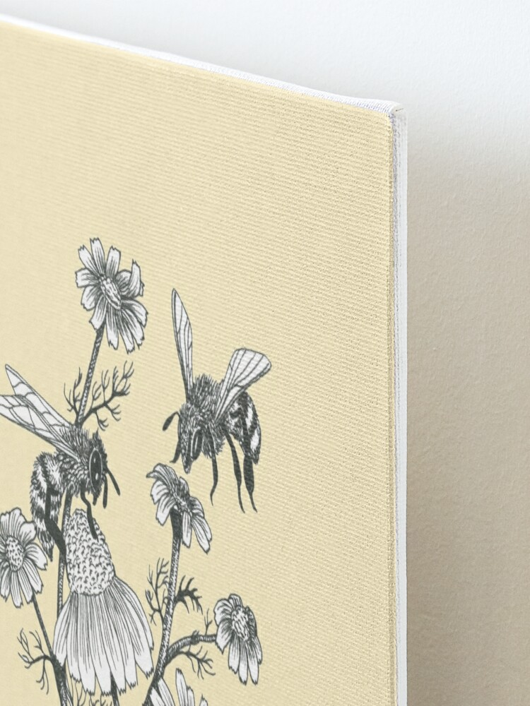 Alternate view of bees and chamomile on honey background  Mounted Print