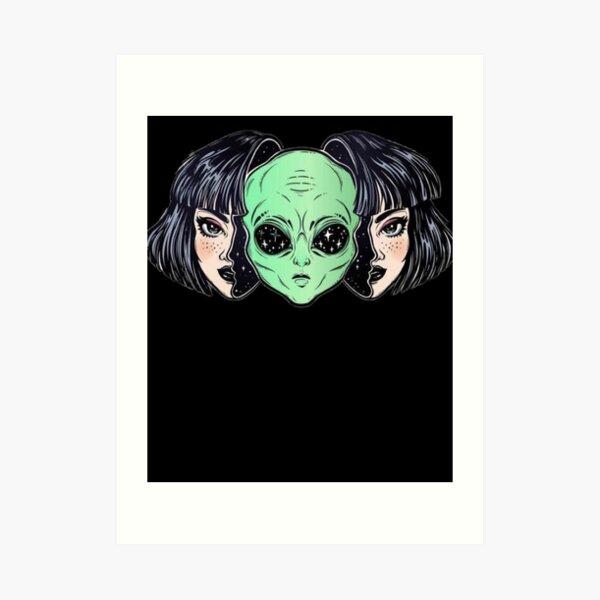 Außerirdischer Kopf im Frauenkopf 2020 Außerirdische Frau Kunstdruck