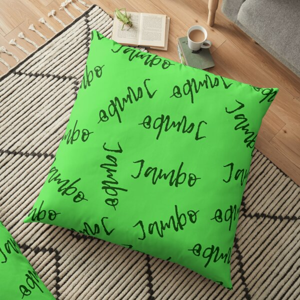 Jambo (Green on Green) - Africa Swahili Quote Floor Pillow