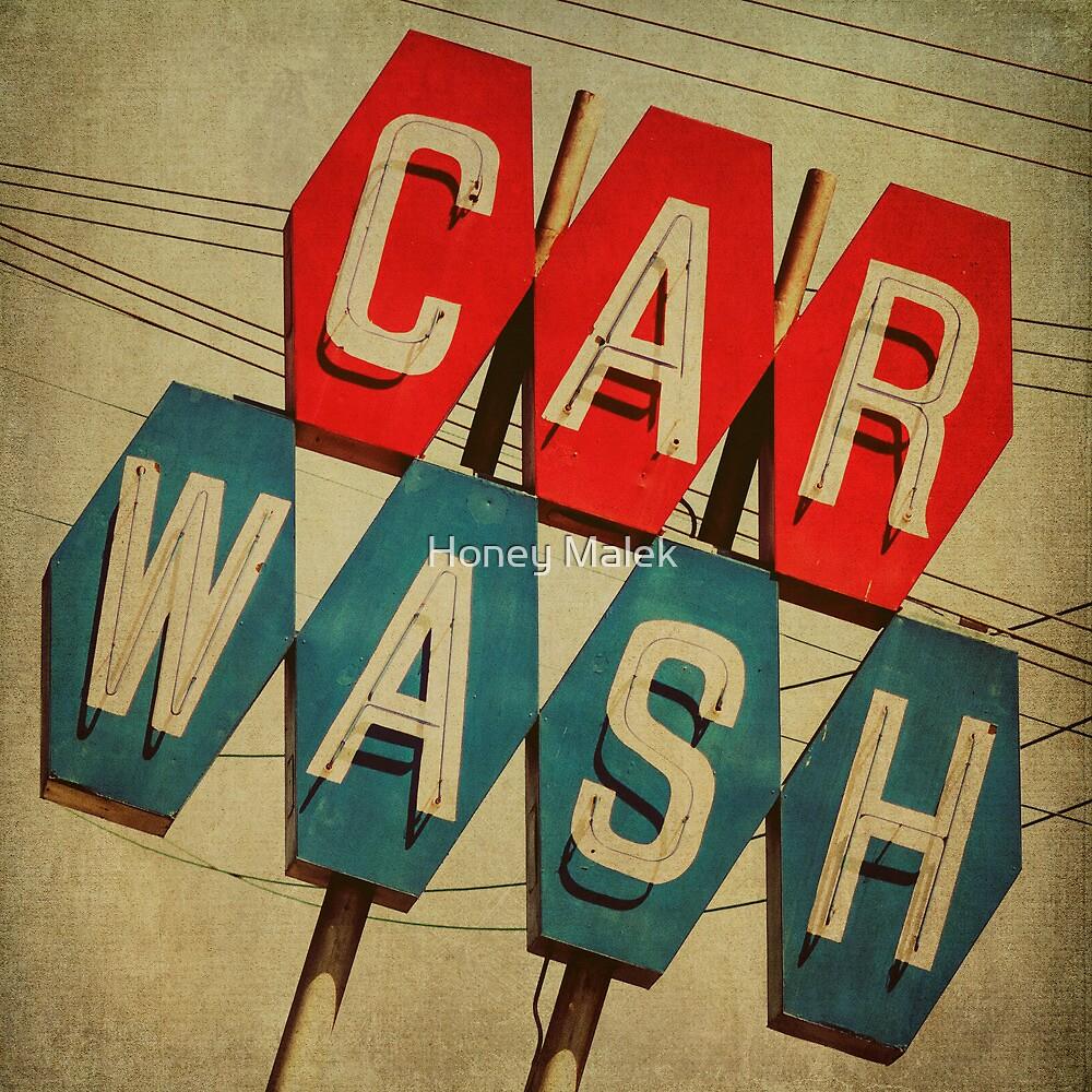 Retro Car Wash Sign by Honey Malek