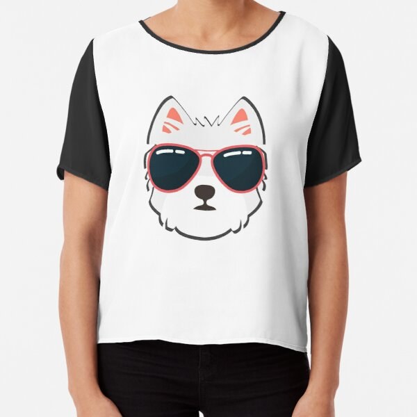 Westie Face With Sunglasses Chiffon Top