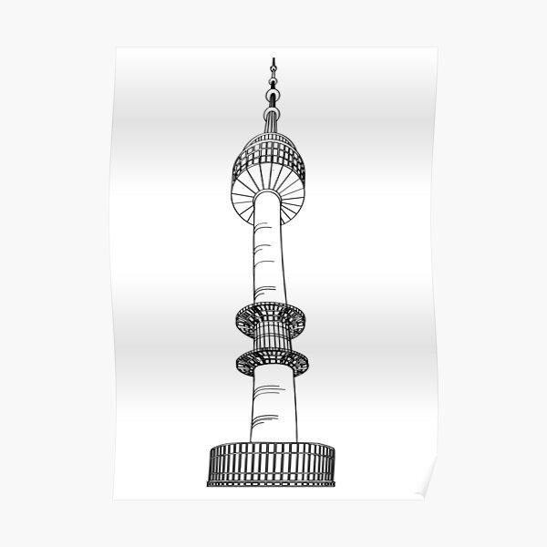 SILHOUETTE NAMSAN SEOUL TOWER Poster