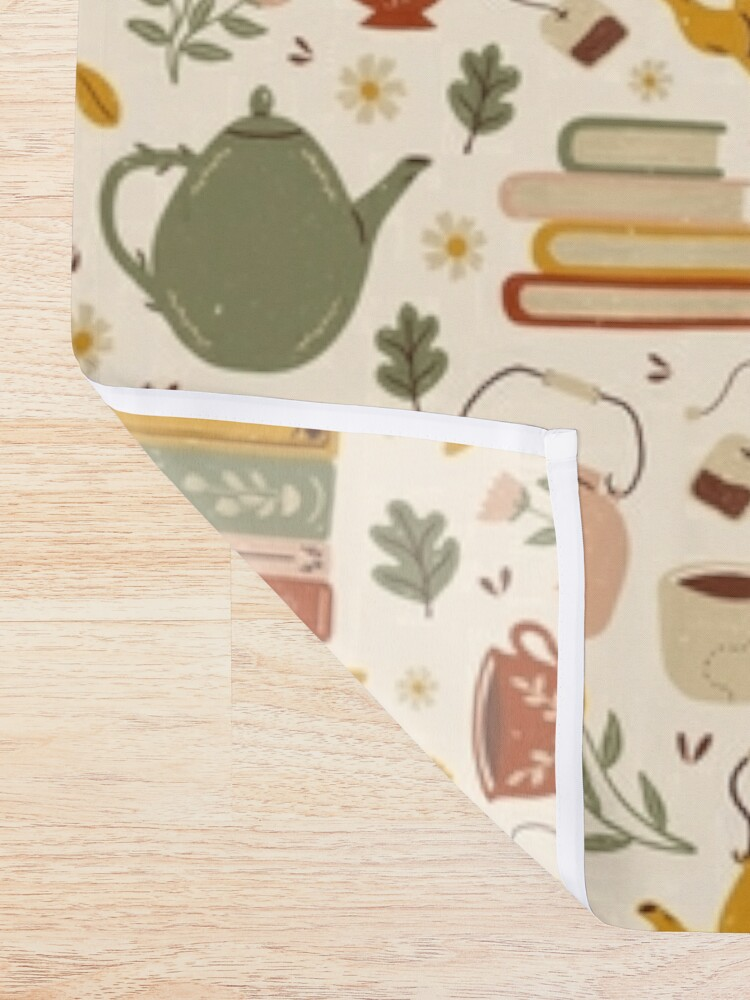 Alternate view of Flowery Books and Tea Shower Curtain