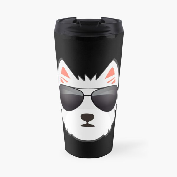 Westie Face With Sunglasses Travel Mug