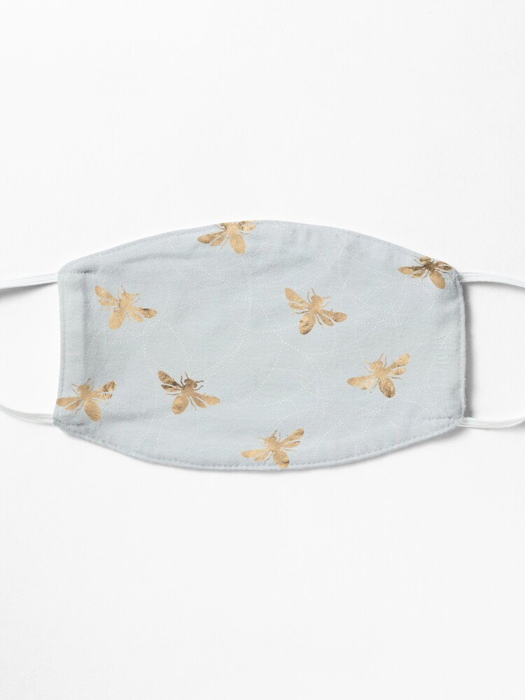 Alternate view of Rose Gold Bees Pattern Mask