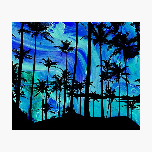 Cool Blue Island Style Palm Tree dreams Photographic Print