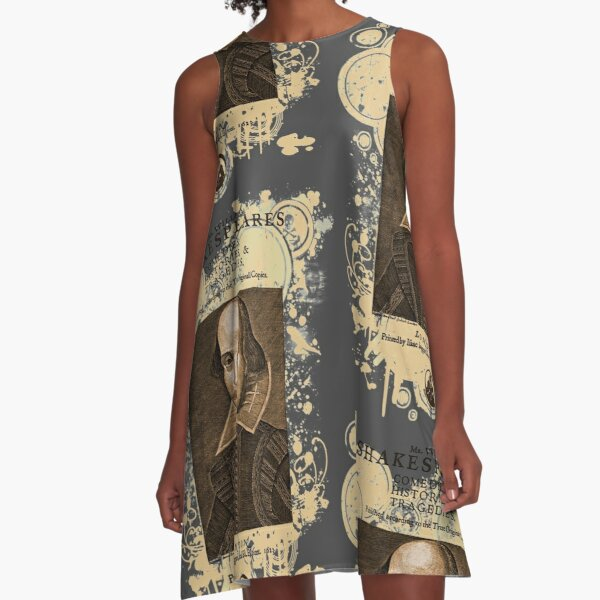 Shakespeare First Folio Front Piece A-Line Dress