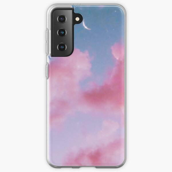 Aesthetic Cotton candy clouds pink pastel sparkling sky Samsung Galaxy Soft Case