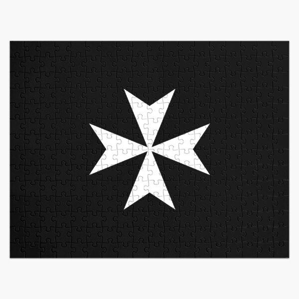 CROSS. MALTA. Maltese, Amalfi Cross, Maltese cross, Knights Hospitaller, WHITE on BLACK. Jigsaw Puzzle