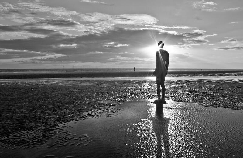 beach sunset black and white. crosby beach iron man sunset black and white by paul madden redbubble