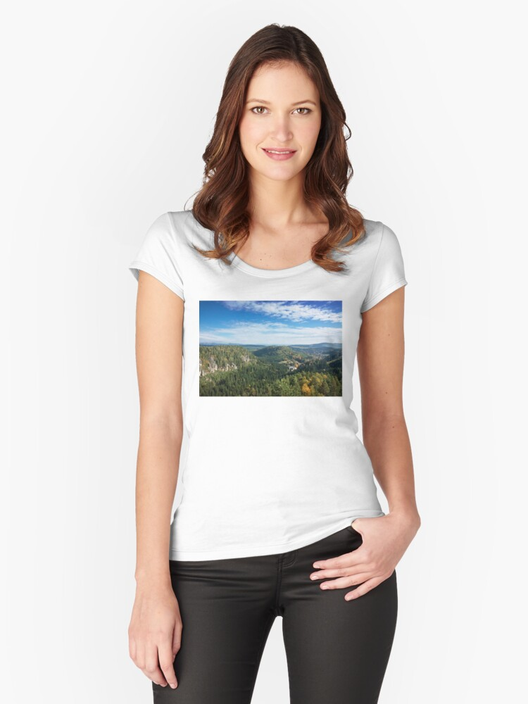 View from Střmen Women's Fitted Scoop T-Shirt Front