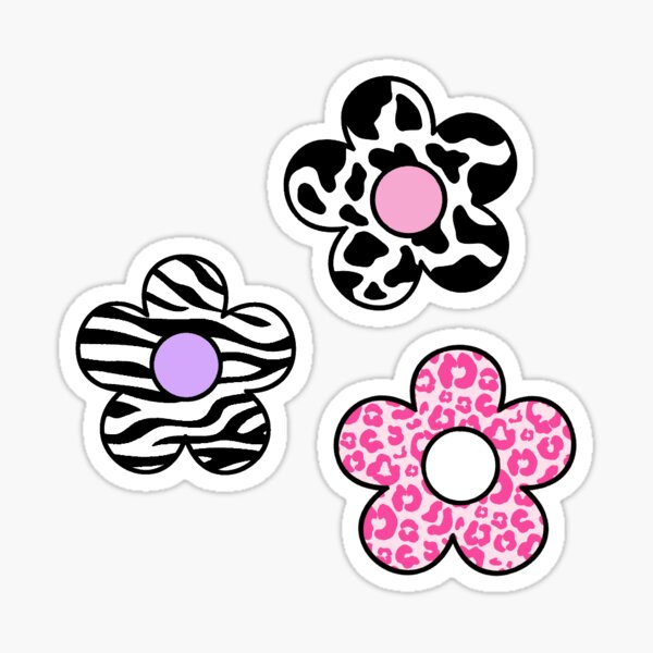 pack de fleurs à imprimé animal Sticker
