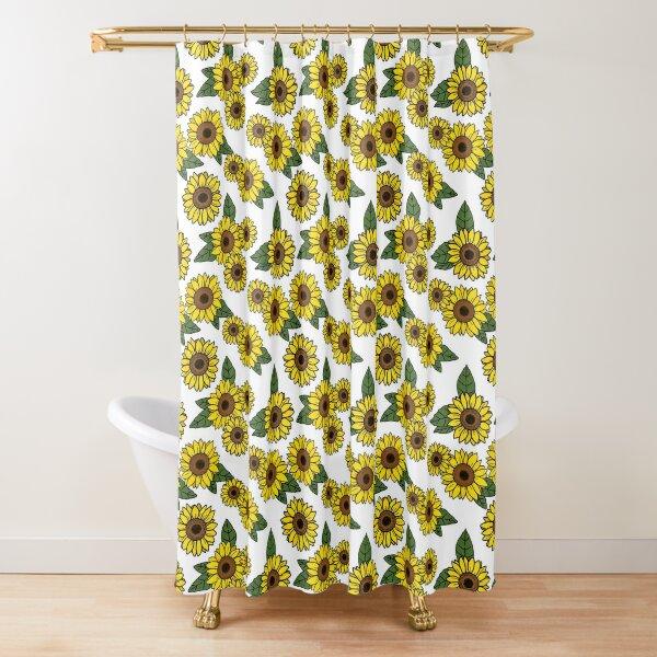 Dense Sunflower Pattern Shower Curtain