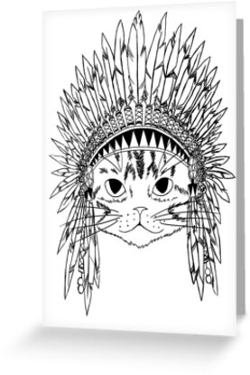 Cat with Headdress - white by Carol  Arevalo