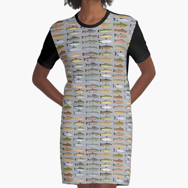 Trout, Char, Grayling and Whitefish Group Graphic T-Shirt Dress