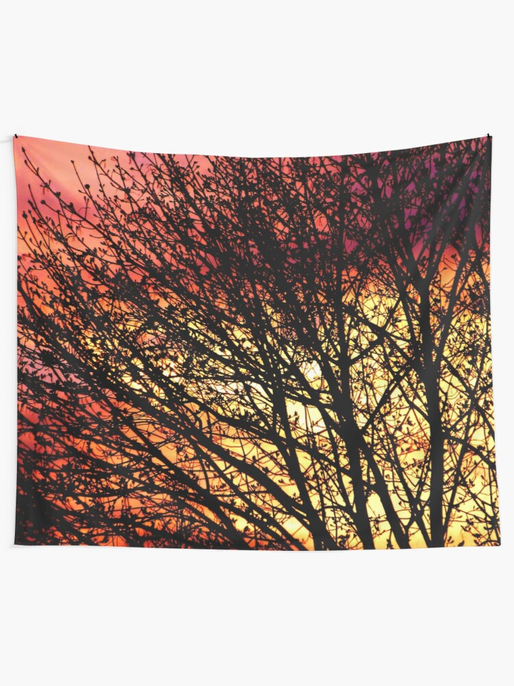 Alternate view of Evening Light in Rose and Gold Tapestry