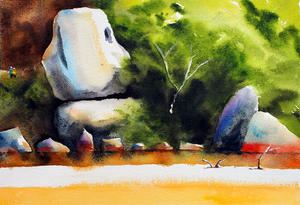 Whale Rock in watercolour by Jenny Barnes