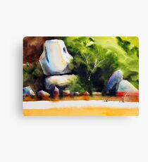 Whale Rock in watercolour Canvas Print