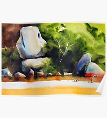 Whale Rock in watercolour Poster