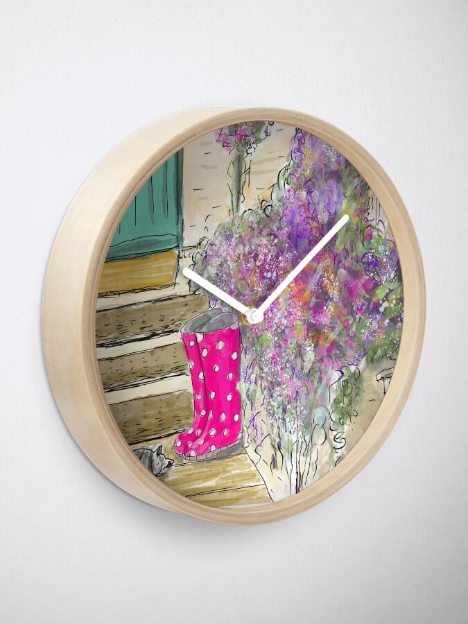 Alternate view of Summer Garden With Cat Clock
