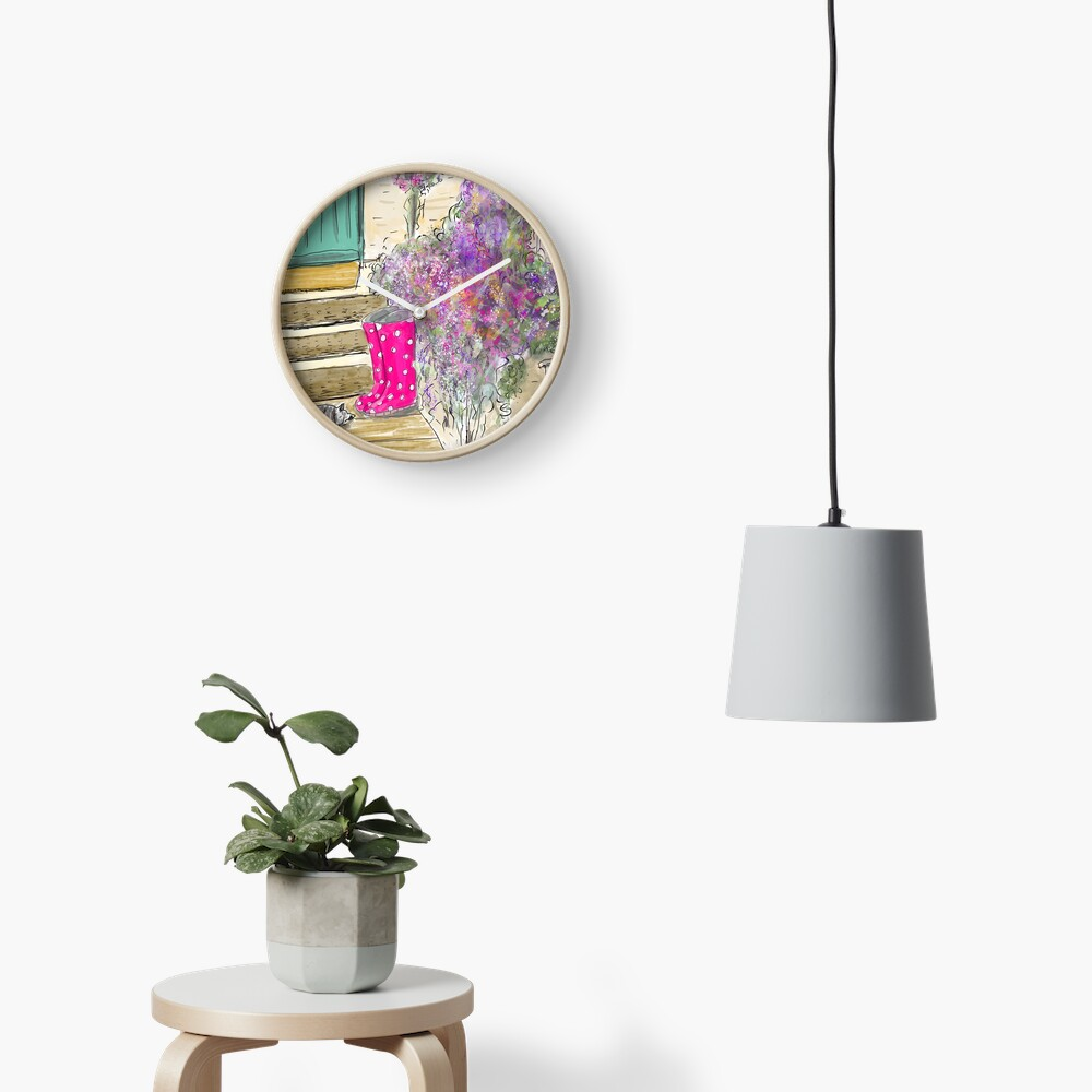 Summer Garden With Cat Clock