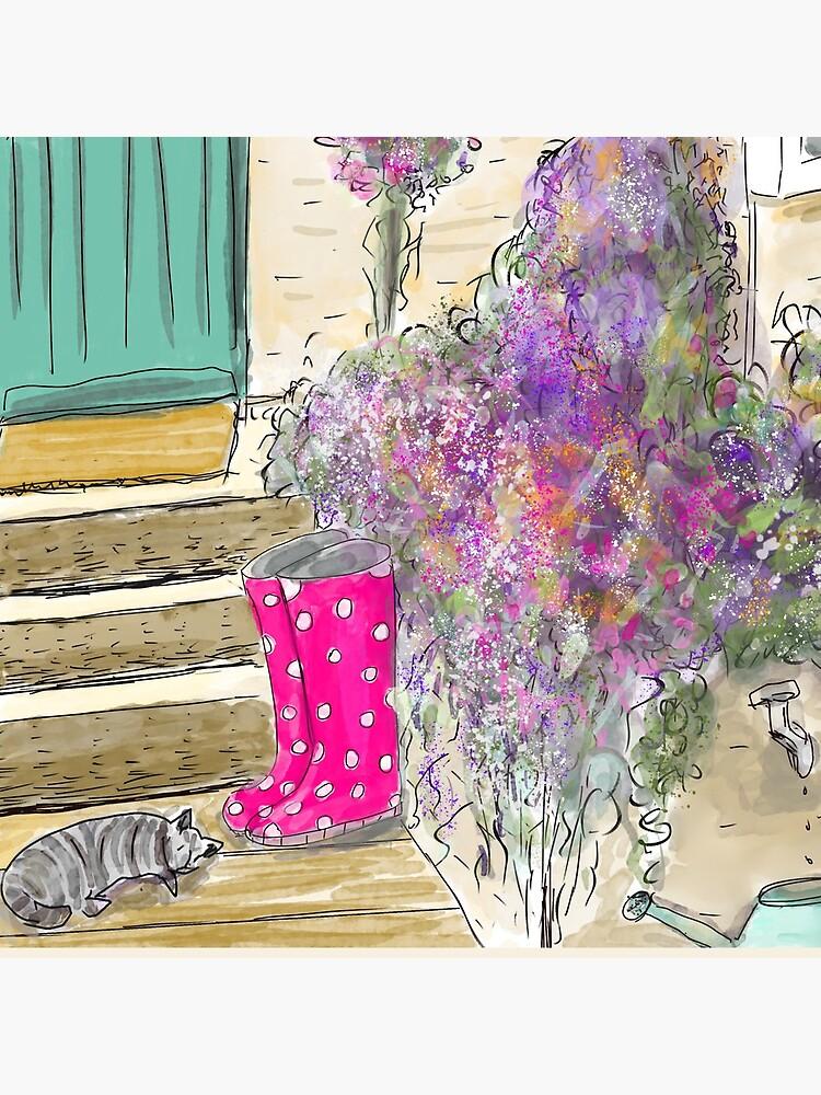 Summer Garden With Cat by ClareWalkerArt