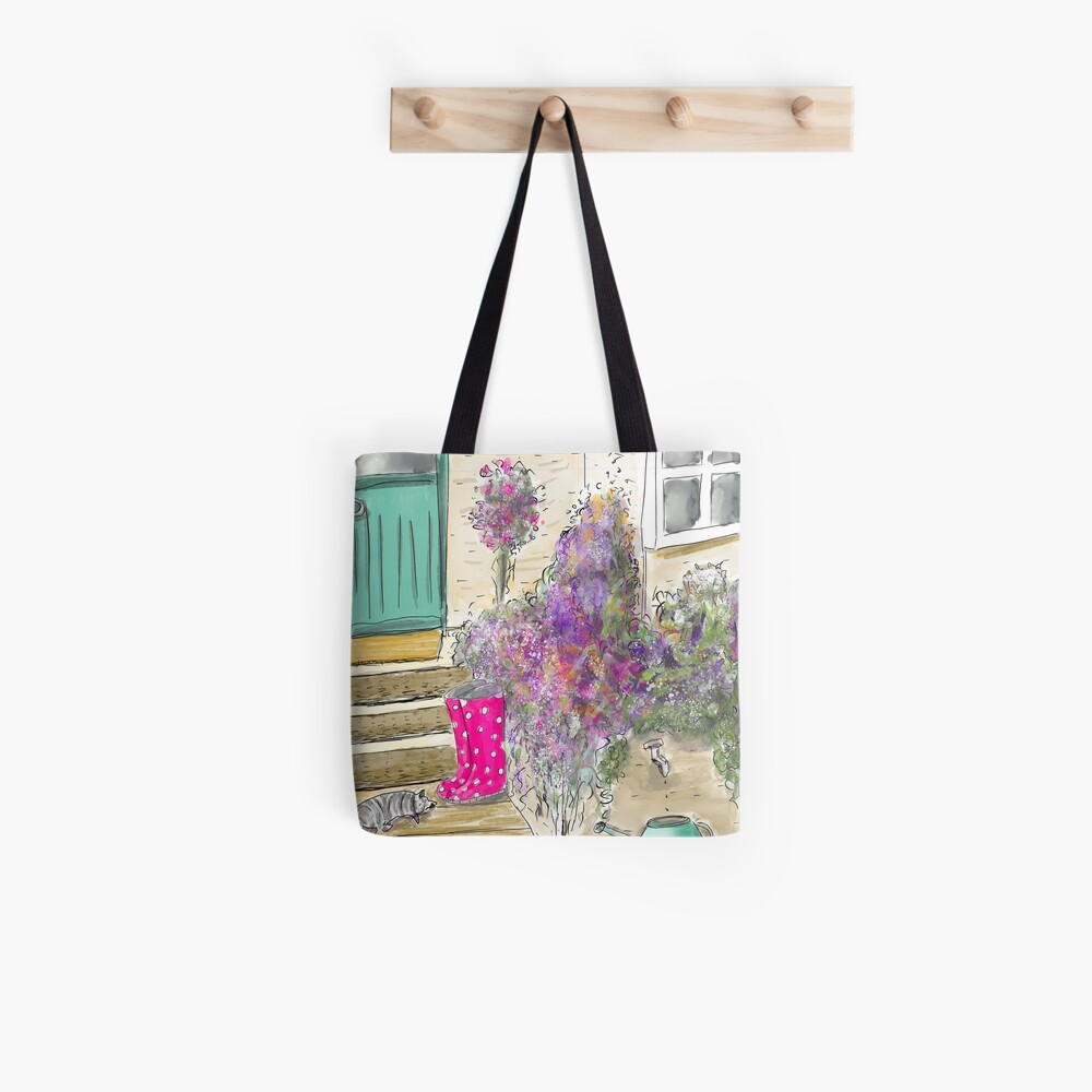 Summer Garden With Cat Tote Bag