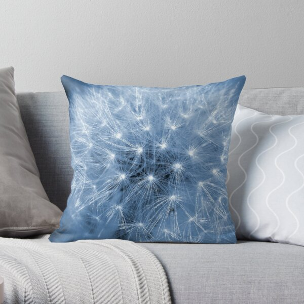 Blue Dandelion Throw Pillow