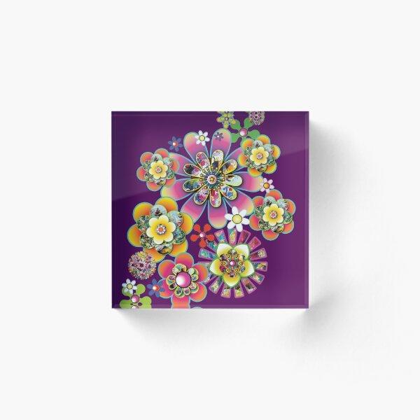 Retro chic funky flower design using real art Acrylic Block