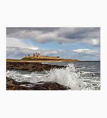 Dunstanburgh Castle, Wave splash Photographic Print