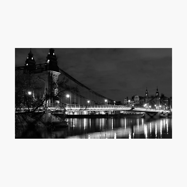 Hammersmith by night (monochrome) Photographic Print