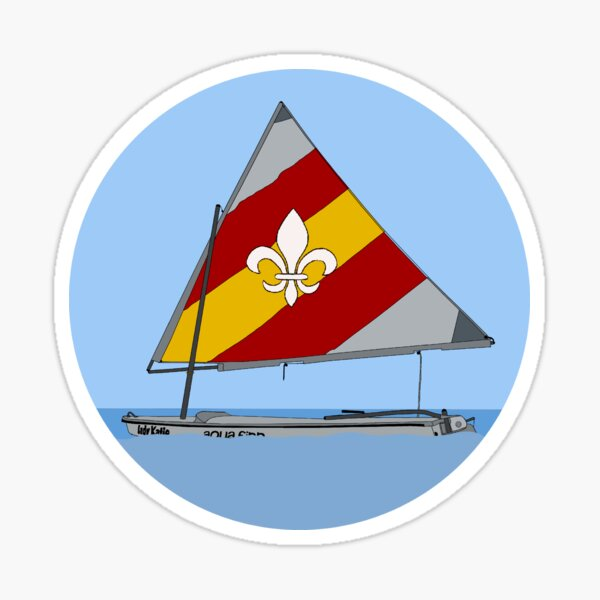red/yellow FDL sailboat Sticker