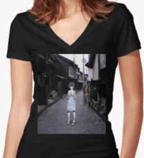 mini Rei in Tokyo Women's Fitted V-Neck T-Shirt