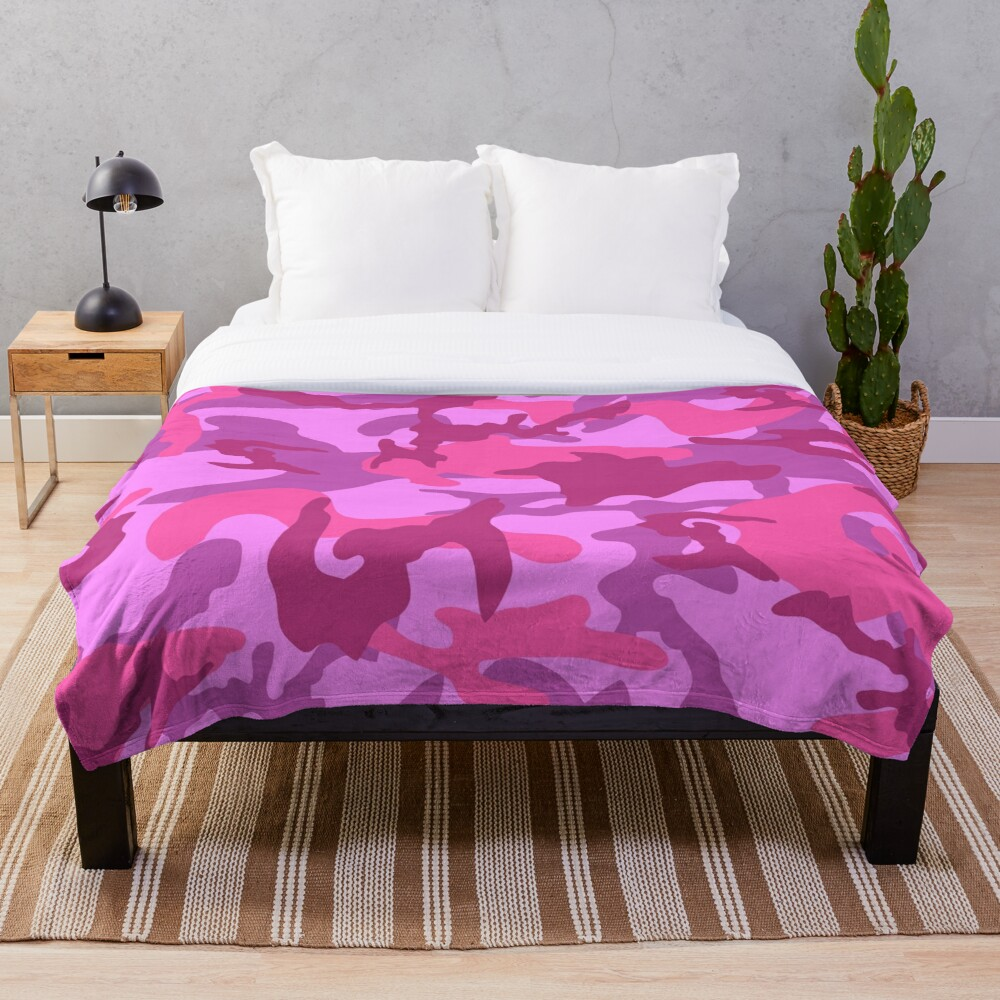 Camo Chic Fun and Girly Pink Pattern Throw Blanket