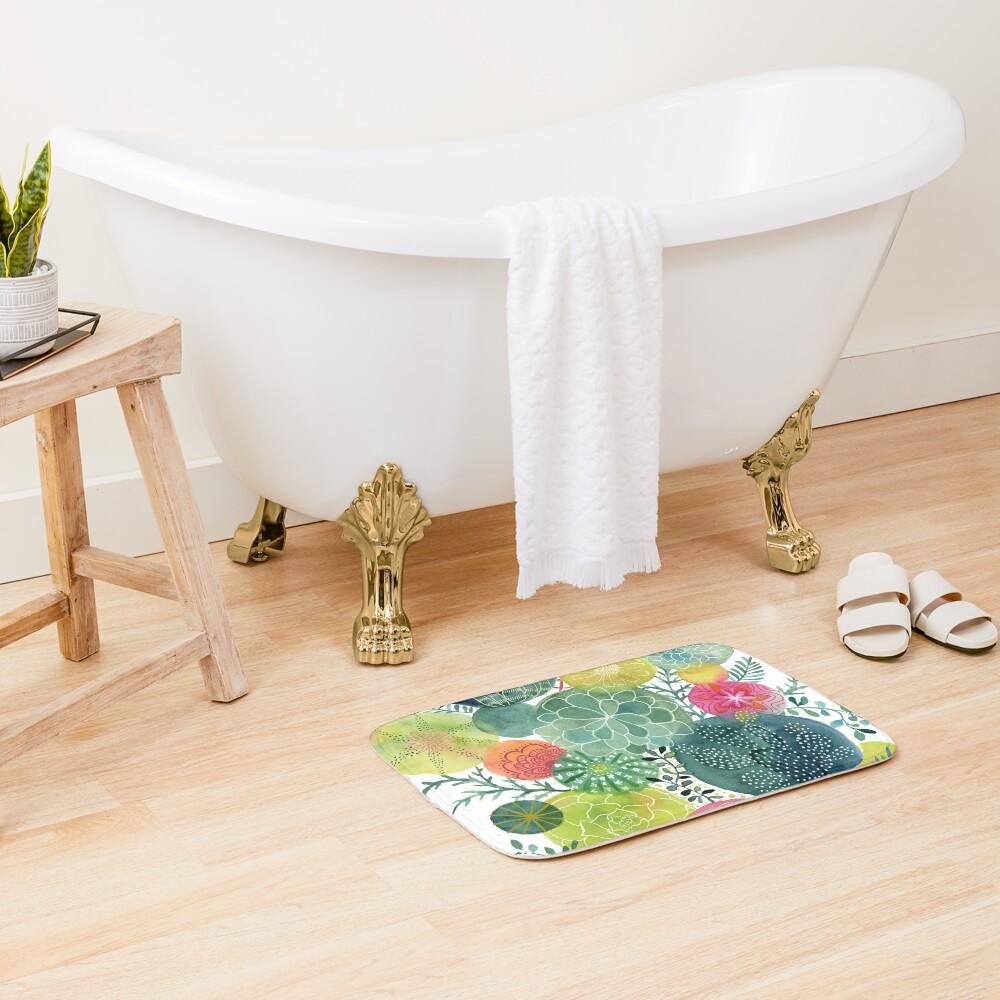 Succulent Circles Bath Mat