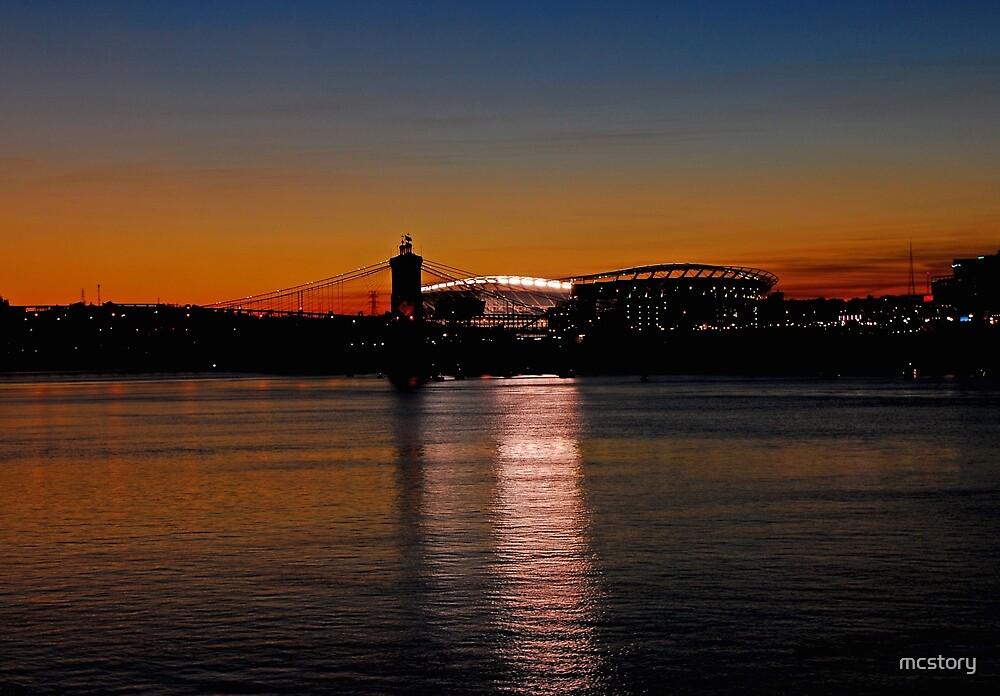 Sunset on Paul Brown Stadium by Mary Carol Story