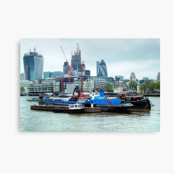 Barges On River Thames Canvas Print