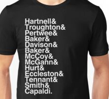 All Doctor - Hartnell to Capaldi, With Hurt Unisex T-Shirt