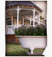 Bathtub Flowers clawfoot wild flowers gazebo photograph Poster